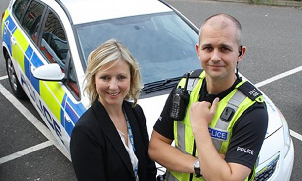 Mental health practioner, Emma McCann and PC Alex Crisp, part of the triage team